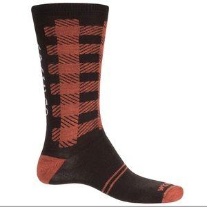 Men's merino wool socks large brown/orange
